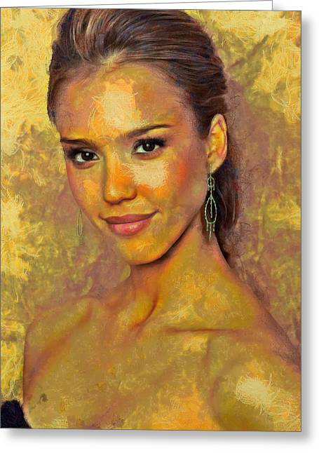 Jessica Alba Paintings Greeting Cards - Jessica Alba Greeting Card by Nikola Durdevic