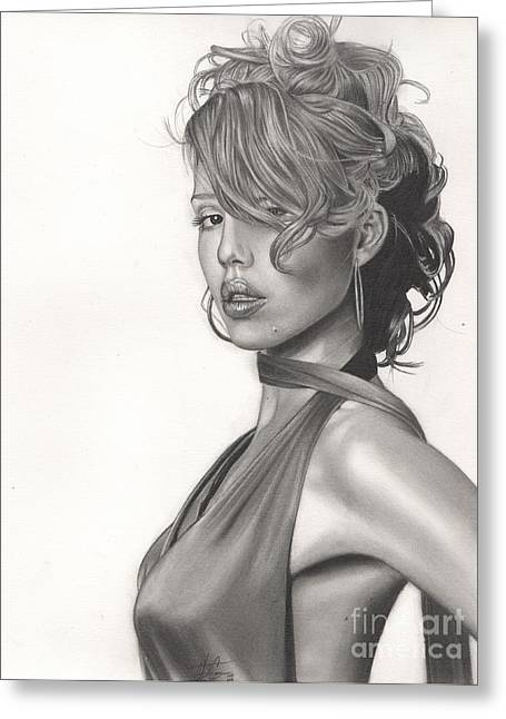Jessica Alba Greeting Cards - Jessica Greeting Card by Christian Conner