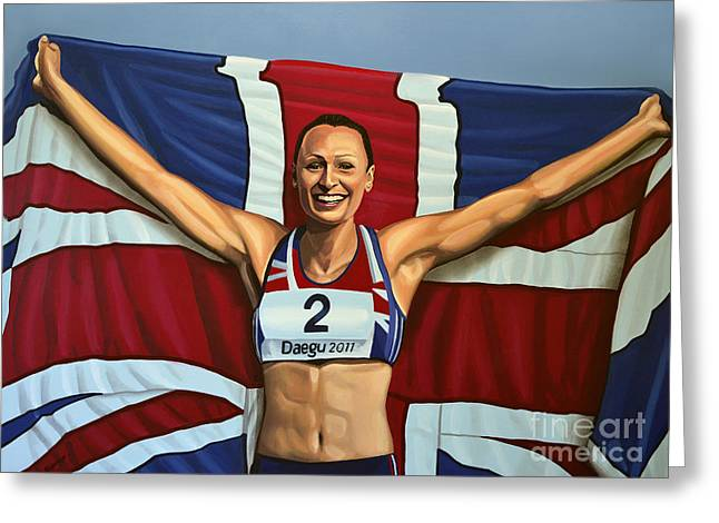 Famous Athletes Greeting Cards - Jessica Ennis Greeting Card by Paul Meijering
