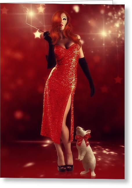 Jessica Rabbit Greeting Card by Cindy Grundsten