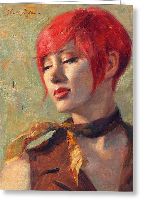 Red Hair Greeting Cards - Jessicas Scarf Greeting Card by Anna Bain