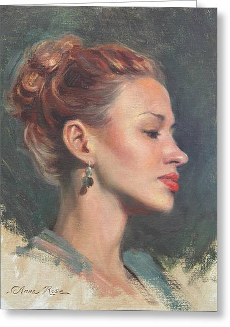 Young Lady Greeting Cards - Jessie in Profile Greeting Card by Anna Rose Bain
