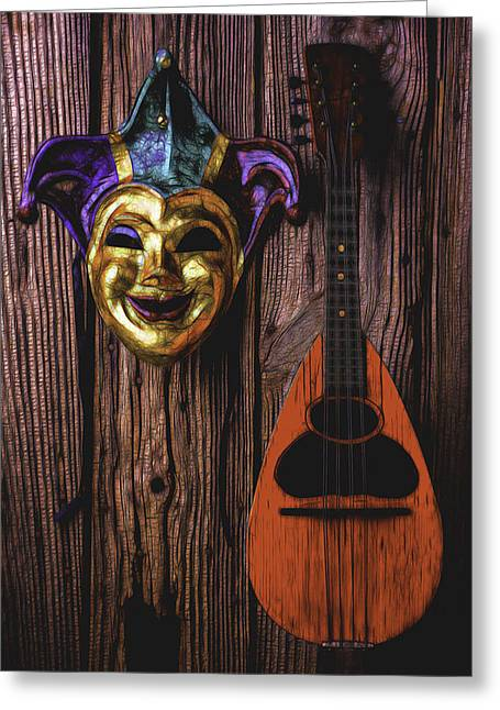 Treasure Box Greeting Cards - Jester Mask And mandolin Greeting Card by Garry Gay