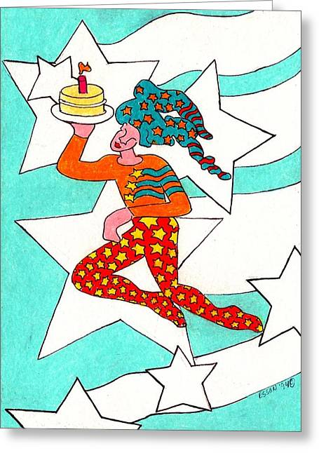 Jester Greeting Cards - Jester With Cake Greeting Card by Genevieve Esson