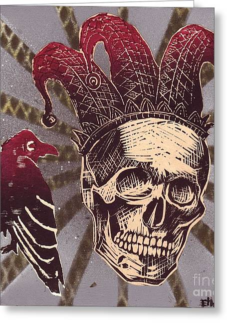 Jester Mixed Media Greeting Cards - Jester with Raven Greeting Card by William p Etheridge jr