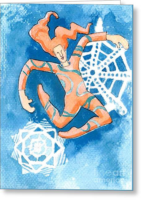 Jester With Snowflakes Greeting Card by Genevieve Esson