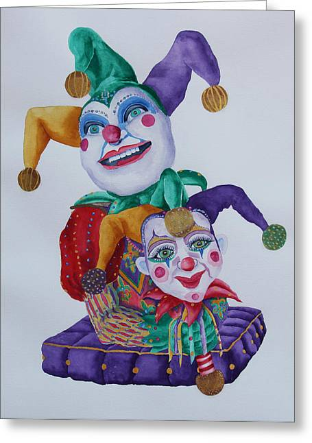 Jesters Puppet Greeting Cards - Jesters on Bourbon Street  Greeting Card by Rhonda Leonard
