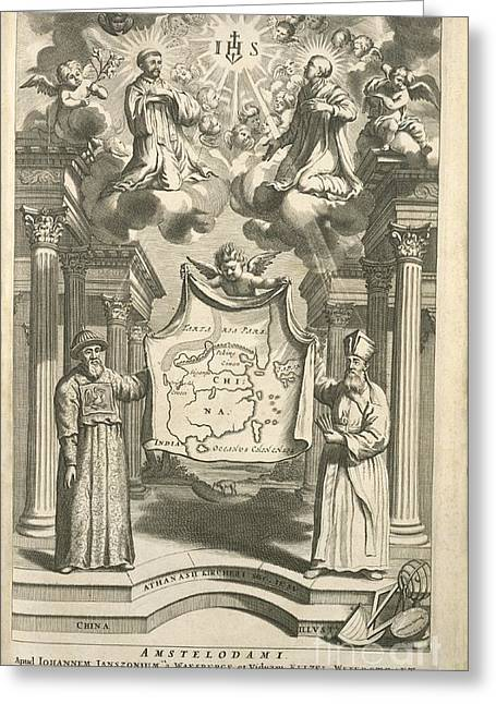 Beijing Map Greeting Cards - Jesuit Missions To China, 17th Century Greeting Card by Science, Industry And Business Library