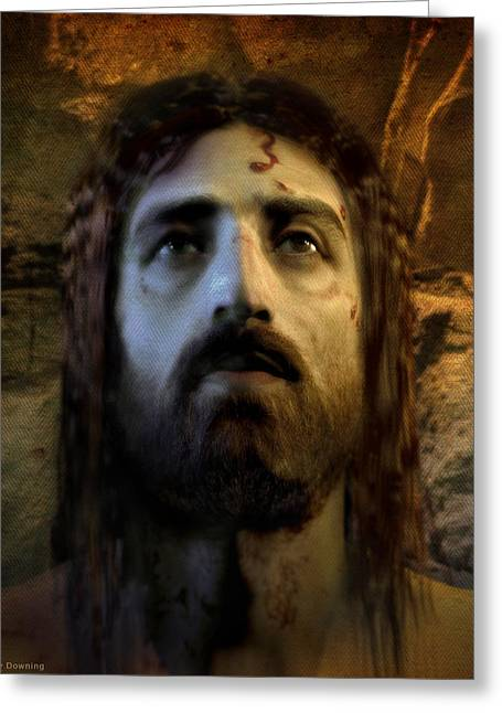 Real Face Digital Art Greeting Cards - Jesus Alive Again Greeting Card by Ray Downing