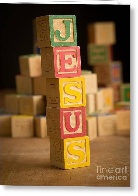 Child Jesus Greeting Cards - JESUS - Alphabet Blocks Greeting Card by Edward Fielding