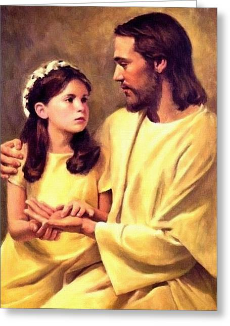 Catholic Art Greeting Cards - Jesus And Child Greeting Card by Victor Gladkiy