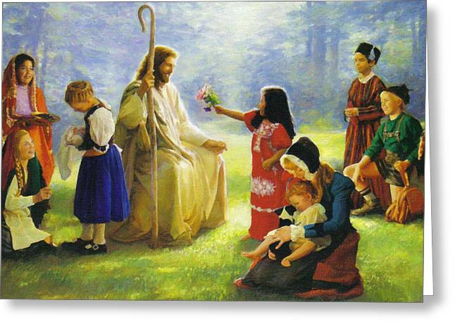 Calvary Greeting Cards - Jesus and Children Greeting Card by Victor Gladkiy