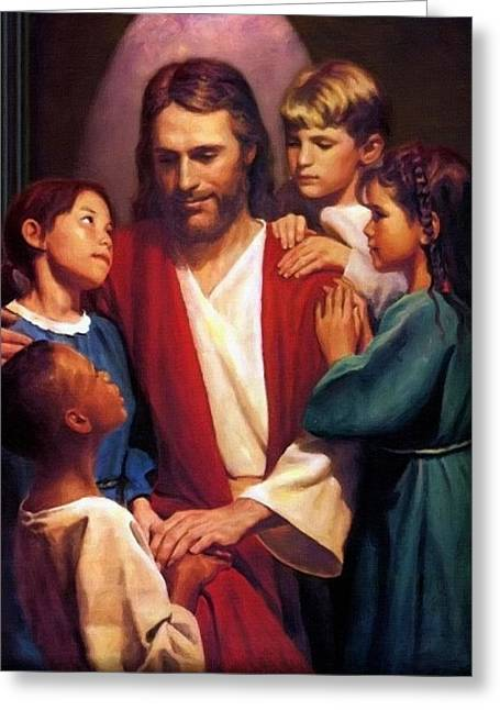 Catholic Art Greeting Cards - Jesus And Childs Greeting Card by Victor Gladkiy
