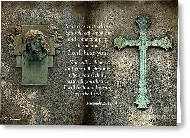Jesus And Cross - Inspirational - Bible Scripture Greeting Card by Kathy Fornal