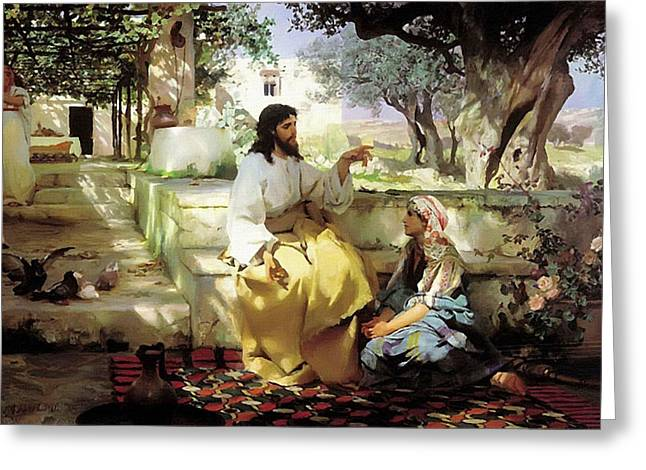 Religious Art Paintings Greeting Cards - Jesus and Girl Greeting Card by Victor Gladkiy