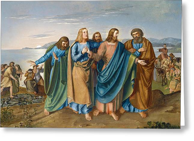 Jesus And Disciples Greeting Cards - Jesus and his disciples at the Sea of Galilee Greeting Card by Carl Oesterley