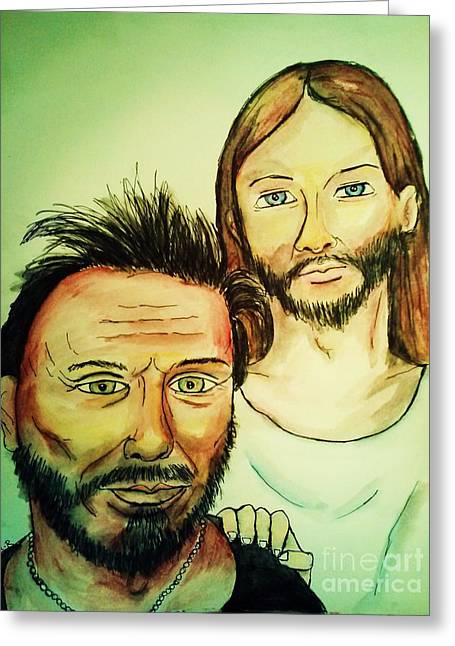 Mickey Rourke Greeting Cards - Jesus and Mickey Rourke 1 Greeting Card by Esther Rowden