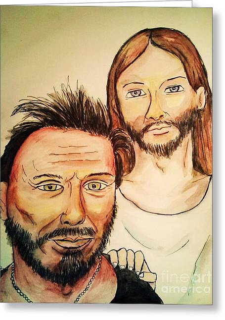 Mickey Rourke Greeting Cards - Jesus and Mickey Rourke  Greeting Card by Esther Rowden