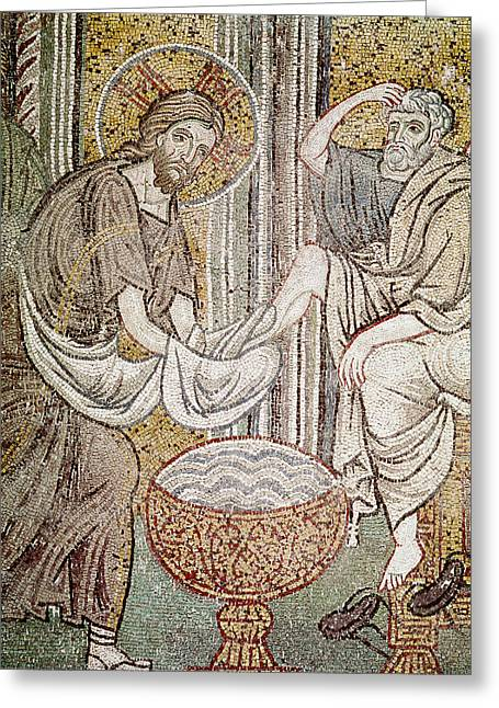 Christ Photographs Greeting Cards - Jesus And St. Peter, Detail From Jesus Washing The Feet Of The Apostle Mosaic Greeting Card by Byzantine School