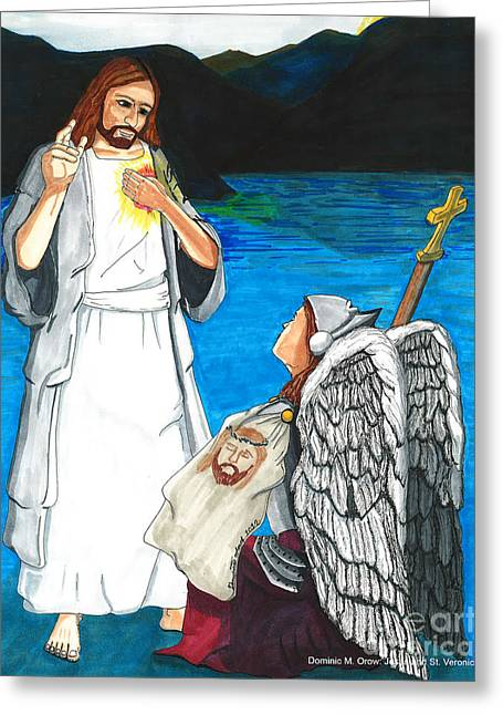 Saint Dominic Greeting Cards - Jesus and St. Veronica Greeting Card by Dominic Orow