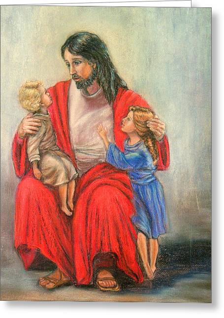 Jesus Pastels Greeting Cards - Jesus and the children Greeting Card by Terry Sita
