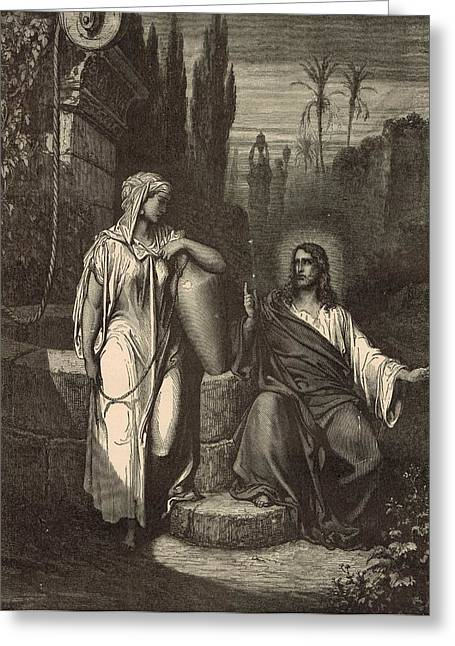 Jesus work Drawings Greeting Cards - Jesus and the Woman of Samaria Greeting Card by Antique Engravings