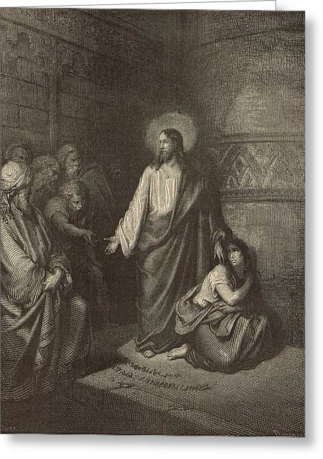 Jesus work Drawings Greeting Cards - Jesus and the Woman Taken into Adultery Greeting Card by Antique Engravings