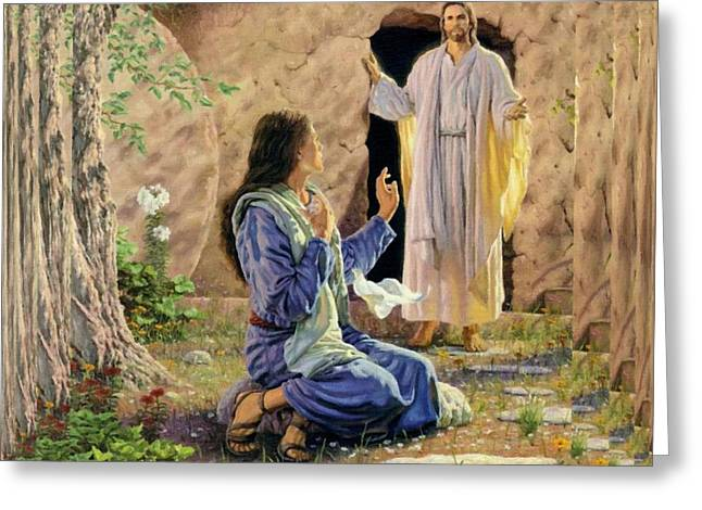 Catholic Art Greeting Cards - Jesus And Woman Greeting Card by Victor Gladkiy