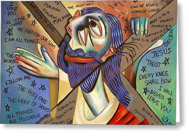Christian Poster Greeting Cards - Jesus Greeting Card by Anthony Falbo