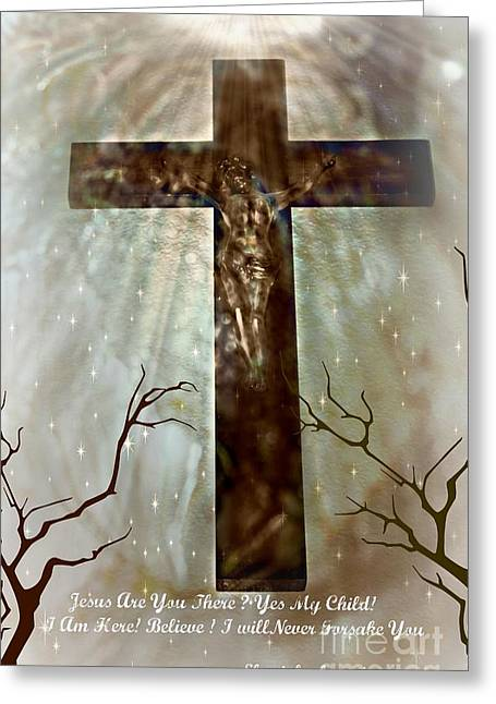 Jesus Are You There Greeting Card by Sherri  Of Palm Springs