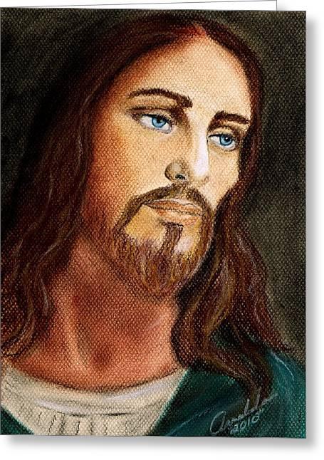 Jesus Pastels Greeting Cards - Jesus Greeting Card by Arnaldo Baez
