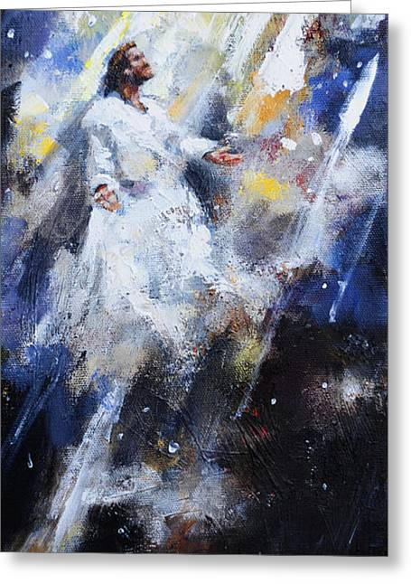 Jesus Paintings Greeting Cards - Jesus Ascending Greeting Card by Carole Foret