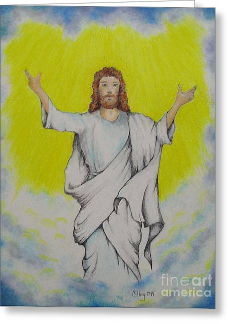 Jesus Pastels Greeting Cards - Jesus Ascending Greeting Card by Catherine Howley