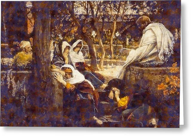 Jesus Christ Images Digital Art Greeting Cards - Jesus At bethany Greeting Card by James Tissot