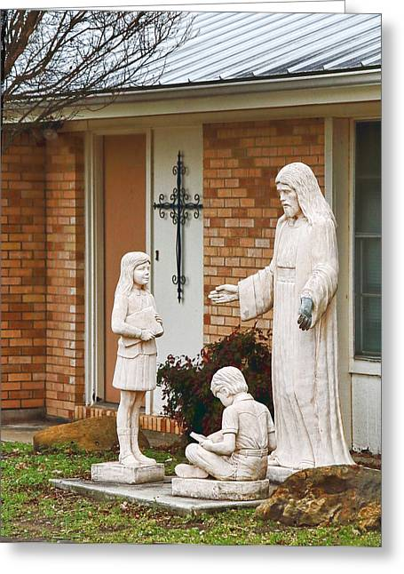 Door Sculpture Greeting Cards - Jesus at Home with Children Greeting Card by Linda Phelps