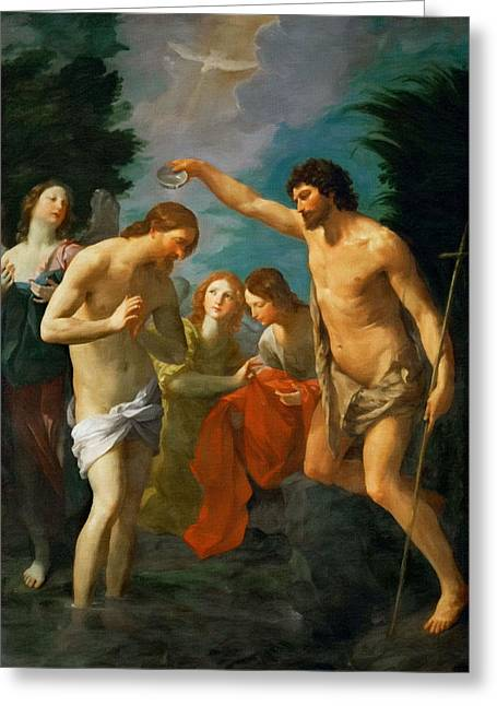 Religious Art Paintings Greeting Cards - Jesus Baptism Greeting Card by Victor Gladkiy