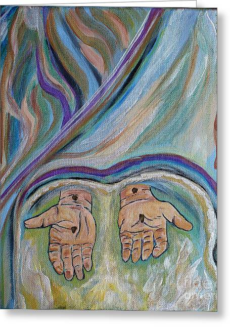 Salvation Mixed Media Greeting Cards - Jesus - Believe and Follow Me  Greeting Card by Ella Kaye Dickey