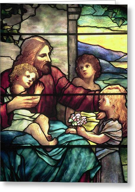 Suffer The Children Greeting Cards - Jesus Blessing The Children in stained glass Greeting Card by Philip Ralley