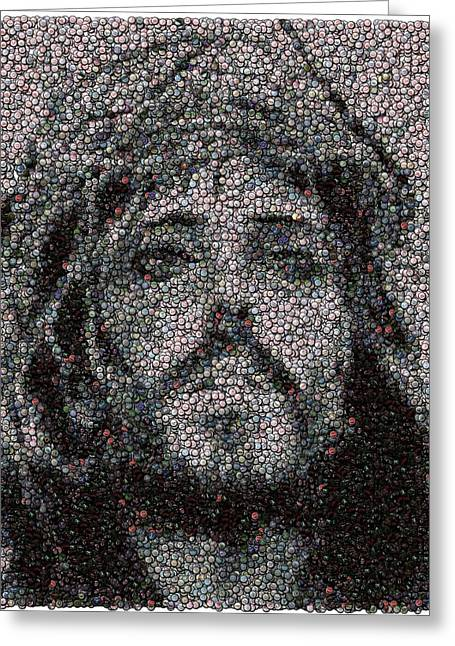 Bottlecaps Greeting Cards - Jesus Bottle Cap Mosaic Greeting Card by Paul Van Scott