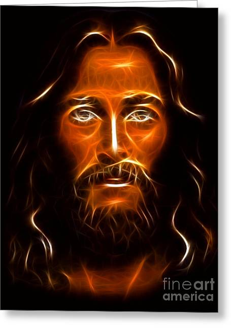 Calvary Mixed Media Greeting Cards - Brilliant Jesus Christ Portrait Greeting Card by Pamela Johnson