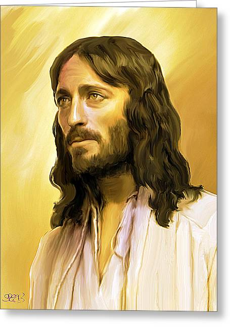 Jesus Mixed Media Greeting Cards - Jesus cares Greeting Card by Mark Spears