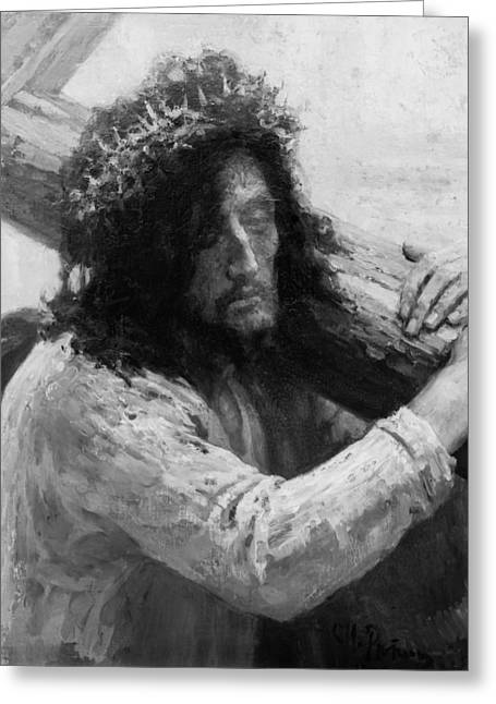 Engraving Greeting Cards - Jesus carrying the cross circa 1898  Greeting Card by Aged Pixel