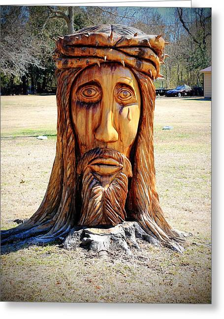 Jesus Carving Greeting Card by Mary Koval