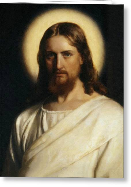 Religious Art Paintings Greeting Cards - Jesus Christ - Savior Greeting Card by Victor Gladkiy