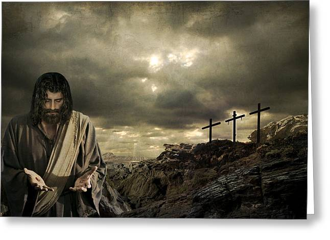 Real Face Digital Art Greeting Cards - Jesus Christ- A Sacrifice Of Atonement Greeting Card by Acropolis  De Versailles