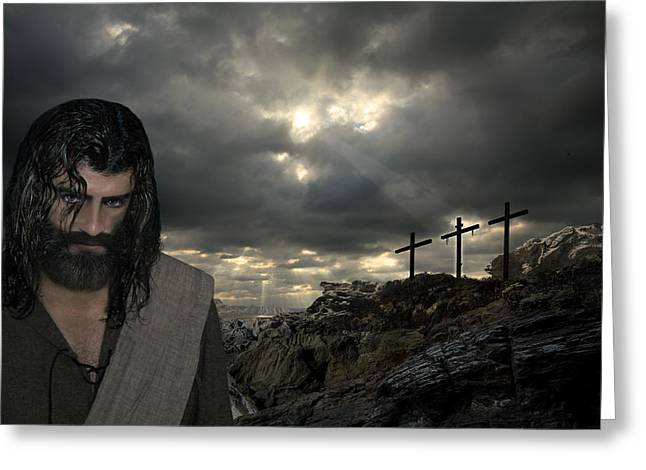 Real Face Digital Art Greeting Cards - Jesus Christ- After Three Days I Will Rise Again Greeting Card by Acropolis  De Versailles
