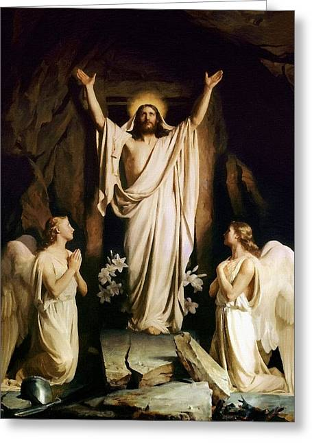 Religious Art Greeting Cards - Jesus Christ And Angels Greeting Card by Victor Gladkiy
