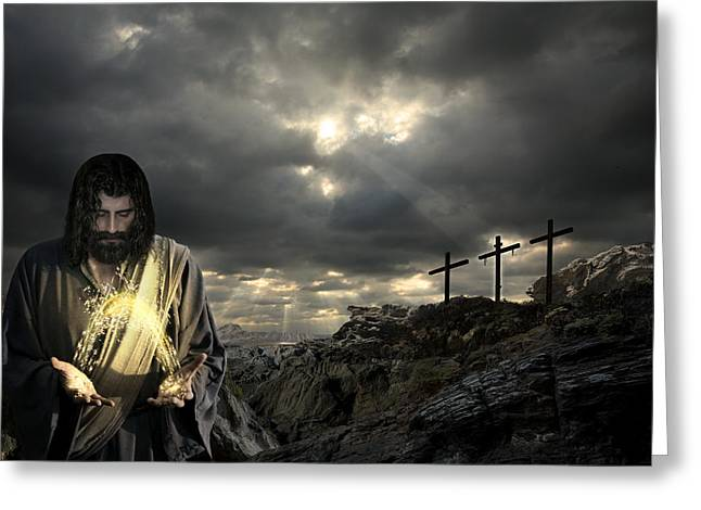 Real Face Digital Art Greeting Cards - Jesus Christ- And By His Wounds We Are Healed Greeting Card by Acropolis  De Versailles