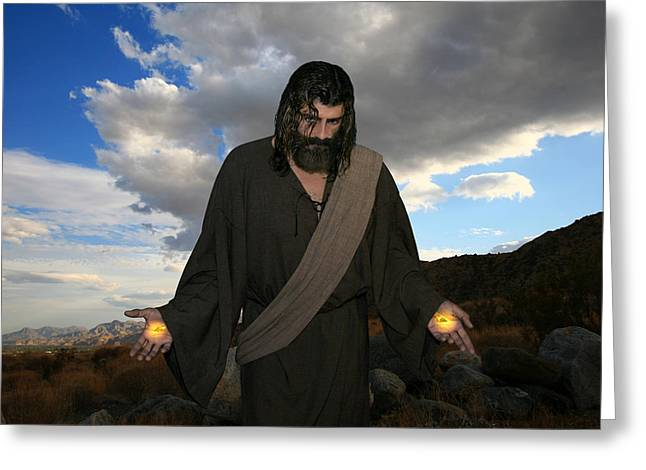 Real Face Digital Art Greeting Cards - Jesus Christ- And He Withdrew Himself Into The Wilderness And Prayed Greeting Card by Acropolis  De Versailles
