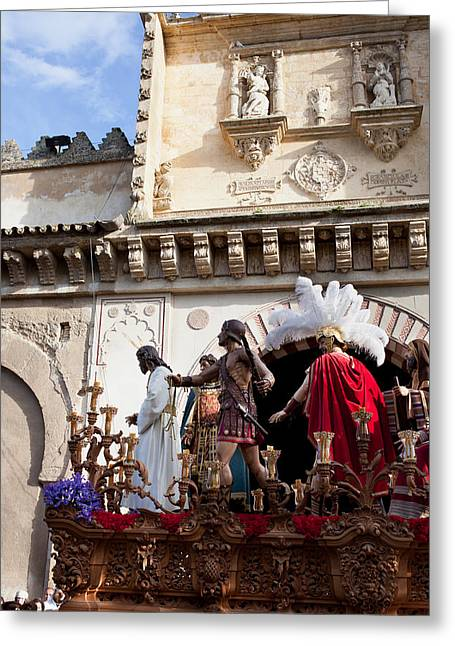 Holy Week Photographs Greeting Cards - Jesus Christ and Roman Soldiers on Procession Platform Greeting Card by Artur Bogacki
